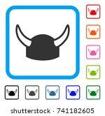 horned helmet icon. flat gray...