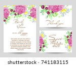 invitation with floral... | Shutterstock . vector #741183115