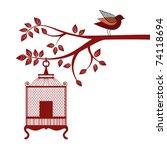 bird birdcage tree branch | Shutterstock .eps vector #74118694