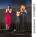 Small photo of New York, NY - October 24, 2017: Lena Hall and Alyssa Robbins perform at NewFest closing night movie screening Becks at Cinepolis Chelsea