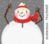 cartoon snowman  vector... | Shutterstock .eps vector #741190405