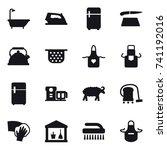 16 vector icon set   bath  iron ... | Shutterstock .eps vector #741192016