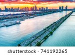 miami at dusk. causeway from... | Shutterstock . vector #741192265