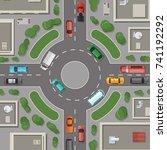 vector city buildings  roads... | Shutterstock .eps vector #741192292