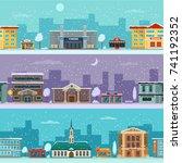 urban landscape in winter... | Shutterstock .eps vector #741192352