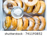 homemade donuts with powdered... | Shutterstock . vector #741193852