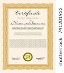 orange sample certificate or... | Shutterstock .eps vector #741201922