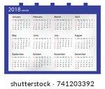 2018 calendar   illustration... | Shutterstock .eps vector #741203392