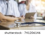 close up stethoscope on table... | Shutterstock . vector #741206146