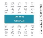 line icons set. workplace pack.... | Shutterstock .eps vector #741207682
