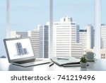 workplace of insurance broker... | Shutterstock . vector #741219496