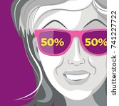 woman in sunglasses sees sales. ... | Shutterstock .eps vector #741227722