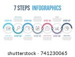 infographic template with 7... | Shutterstock .eps vector #741230065