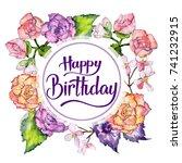 wildflower begonia flower frame ... | Shutterstock . vector #741232915