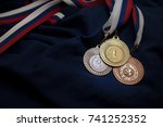 gold  silver and bronze medal... | Shutterstock . vector #741252352