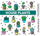house plants in flower pots... | Shutterstock .eps vector #741252652