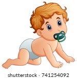 vector illustration of baby boy ... | Shutterstock .eps vector #741254092