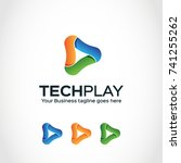 this is a play video logo used... | Shutterstock .eps vector #741255262