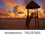 isla mujeres island caribbean... | Shutterstock . vector #741257002