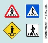 set of pedestrian crossing sign ... | Shutterstock .eps vector #741257686