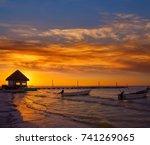 holbox island pier palapa... | Shutterstock . vector #741269065