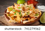 corn mexican nachos with beef ... | Shutterstock . vector #741279562