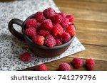 brown ceramic mug with...   Shutterstock . vector #741279796