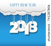 happy new 2018 year. greetings... | Shutterstock .eps vector #741287806