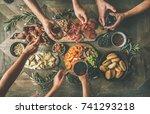 flat lay of friends hands... | Shutterstock . vector #741293218