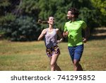 healthy  fit and  sportive... | Shutterstock . vector #741295852