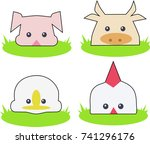 farm animals on the lawn  | Shutterstock .eps vector #741296176