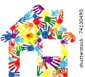 abstract vector hand prints... | Shutterstock .eps vector #74130490