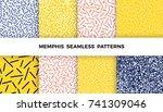 set of bright geometric memphis ... | Shutterstock .eps vector #741309046