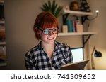attractive businesswoman... | Shutterstock . vector #741309652