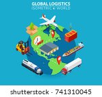 global logistics cargo delivery ... | Shutterstock .eps vector #741310045