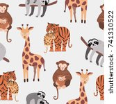 Stock vector seamless pattern with various cute and funny cartoon zoo animals on white background monkeys 741310522