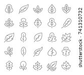 autumn leaves line icon set | Shutterstock .eps vector #741310732
