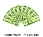 dollar banknotes fan. green... | Shutterstock .eps vector #741320188