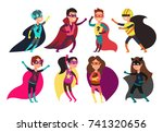 happy kids superheroes wearing... | Shutterstock .eps vector #741320656
