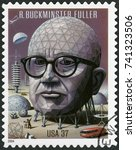Small photo of MOSCOW, RUSSIA - MARCH 25, 2016: A stamp printed in USA shows Richard Buckminster Bucky Fuller (1895-1983), architect, designer and inventor, 2004