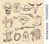 western symbols. cowboy  guns ... | Shutterstock .eps vector #741324052