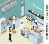 pizzeria commercial kitchen... | Shutterstock .eps vector #741325306