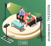 tv show studio with presenter... | Shutterstock .eps vector #741325336