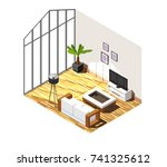 living room interior with large ... | Shutterstock .eps vector #741325612