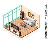 isometric interior composition... | Shutterstock .eps vector #741325666