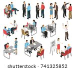 isometric job interview... | Shutterstock .eps vector #741325852