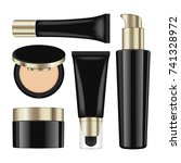 realistic cosmetic black... | Shutterstock .eps vector #741328972
