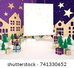purple christmas background... | Shutterstock . vector #741330652