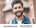 portrait of smiling bearded man ... | Shutterstock . vector #741332872