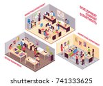 set of isometric coworking... | Shutterstock .eps vector #741333625